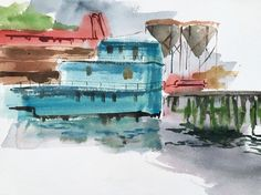 Expressionist Watercolor Painting Industrial Landscape Port PA Artist #Expressionism