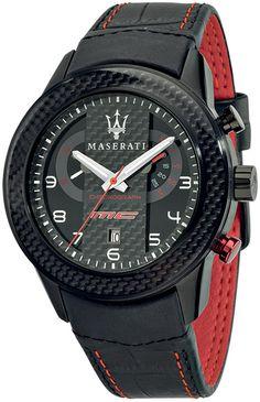 Maserati Corsa R8871610004, Maserati Cronografo color negro con correa de piel Para hombres