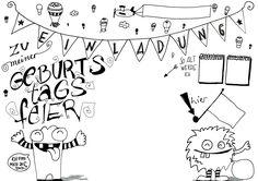Kindergeburtstag - Eine Einladung zum selber Ausdrucken, beschreiben und basteln