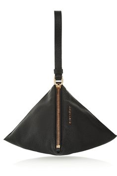 Givenchy|Podium wristlet triangle clutch in black textured-leather|NET-A-PORTER.COM