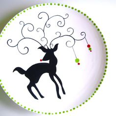 Rudolph Extra Large Platter by Aedriel Originals Christmas Deer, Christmas And New Year, All Things Christmas, Christmas Holidays, Christmas Crafts, Merry Christmas, Christmas Decorations, Hand Built Pottery, Painted Pottery