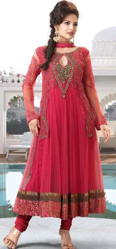 $114.83 Pink Sequins Work Net Long Anarkali Salwar Kameez 22287