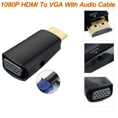 BrankBass 1080p HDMI to VGA  with audio adapter converter cable  for laptop/DVD player/tablets