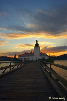 Schloss Ort in Gmunden, Upper Austria #upper #austria #gmunden #castle #lake #water #sunset