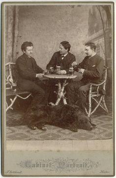 Vintage 1890s CC three men and a dog