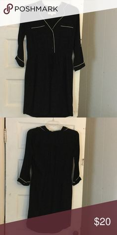Loft dress Black dress made of rayon and polyester. Worn once. Has a drawstring around waist LOFT Dresses Midi