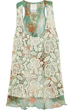 Anna sui Lacecovered Printed Silk Tank in Green (mint)