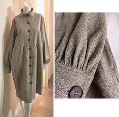 Oatmeal Oyster Melange Tweed Denim High collar Large buttons Balloon sleeves Shirt dress Coat Relax fit US 8 - US 9 Large COCOdake COuture Coat Dress, Shirt Dress, Large Buttons, Couture Collection, High Collar, Tweed, Fur Coat, Balloon Sleeves, Denim
