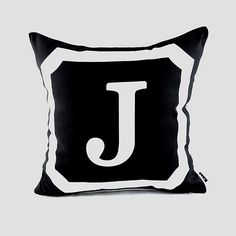 45*45 cm Decorative Black Monogrammed  Initial Letter Throw Cushion Cover Pillow Case for Wedding Gifts ,26 Upper Case Letters