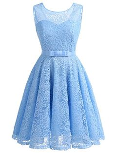 IVNIS Women's Lace Fit and Flare Cocktail Party Dress A-line Prom Dress with Belt