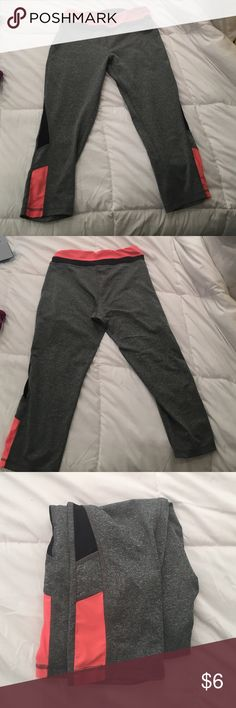 RBX activewear capri pant Black, gray, and coral activewear pants that go down to the mid calf. RBX label has rubbed off a little bit but they are still very comfortable pants! Pants Track Pants & Joggers