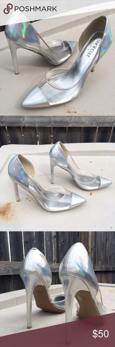 """Aura Platform Pump by Nasty Gal Shoe Cult Retail price at US $68.  I love the holographic look of these but they are a tad tight for my feet - I'm a US 10.  Insanely hot silver hologram pumps featuring a pointed toe and lucite upper. Separated platform, stiletto heel. Fully lined. Looks killer paired with a mesh top and high-waist skirt! By Shoe Cult.  *Heel Height: 4.5""""  *Platform Height: 0.5"""" Nasty Gal Shoes Heels"""