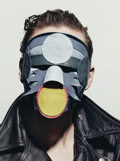 Peter Phillips created these stunning leather masks for an editorial photographed by Richard Burbridge  for Exhibition Magazine's Leather issue