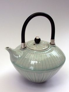 Ceramics by Bridget Drakeford at Studiopottery.co.uk - Teapot with acrylic, 2008.