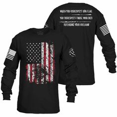 When you disrespect our flag, you disrespect those who died defending your defending your freedom. Enlisted Nine's Defending Your Freedom Long Sleeve is an ultra-comfortable and soft men's black cotton long sleeve shirt. Couple Shirts, Boys T Shirts, Tee Shirts, T Shirts For Women, New T Shirt Design, Shirt Designs, Grunt Style Shirts, Streetwear, Friends Sweatshirt