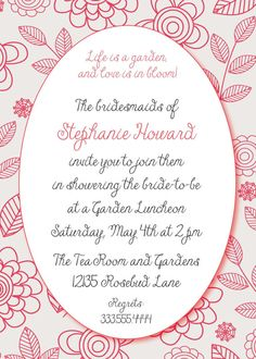 Love Is In Bloom Invitation by SimplySouthernbyD on Etsy, $8.90