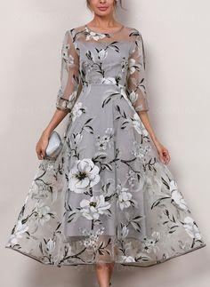 Sukienki - $63.99 - Poliester Kwiatowy 3/4 Rękawy Do Połowy Łydki Słodki Sukienki (1955189432)