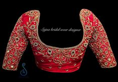 Beautiful red color designer blouse with floret lata design hand embroidery kundan and bead work. To get your outfit customized visit at Chenna Wedding Saree Blouse Designs, Best Blouse Designs, Pattu Saree Blouse Designs, Blouse Neck Designs, Maggam Work Designs, Stylish Blouse Design, Designer Blouse Patterns, Aari Work Blouse, Zardosi Work