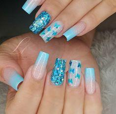 Natural Acrylic Nails, Bling Acrylic Nails, Gel Nails, Bridal Nails Designs, Cute Nail Designs, Pretty Nail Art, Beautiful Nail Art, Fancy Nails, Trendy Nails