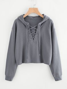 Drop Shoulder Eyelet Lace Up Sweatshirt Clever Shirts Ideas of Clever Shirts - Clever Shirts - Ideas of Clever Shirts - Drop Shoulder Eyelet Lace Up Sweatshirt Clever Shirts Ideas of Clever Shirts Drop Shoulder Eyelet Lace Up SweatshirtFor Women-romwe Girls Fashion Clothes, Teen Fashion Outfits, Girl Fashion, Girl Outfits, Cute Comfy Outfits, Stylish Outfits, Gothic Mode, Kleidung Design, Jugend Mode Outfits