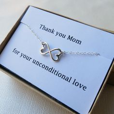 Infinity Heart Necklace & Card Set for Mom - Silver Infinity Pendant, Heart Infinity Necklace with Card, Thank You Mom gift necklace. $30.00, via Etsy.