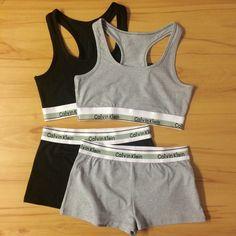 24cca2ca14f1 Reworked Underwear Set Calvin Klein Sports Bra and Shorts in Grey or Black  by MizBradshaw on