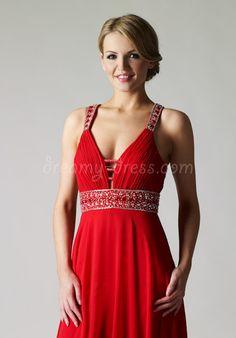 chiffon a-line v-neck sleeveless beading waist floor-length evening/prom dress - Dreamy-dress.com