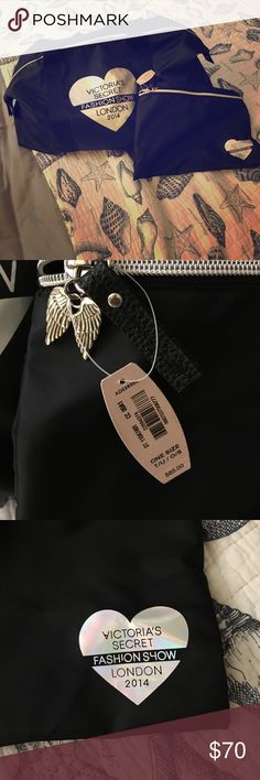 VS Fashion Show London 2014 ❤️NWT❤️ Black with holographic heart. Angel wing zipper. Never used. Duffle bag and smaller bag. Duffle can be stored in smaller bag. Small bag can Button into duffle. Victoria's Secret Bags Travel Bags
