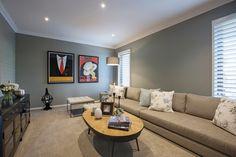 Porter Davis Homes - House Design: Plaza Long Couch, Porter Davis, Home Theater Design, Display Homes, New Home Designs, Entertainment Room, Classic House, New Homes, House Design