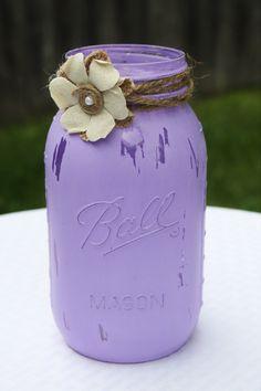 mason jar, distressed mason jar, purple mason jar, lavender mason jar, purple wedding décor, wedding centerpiece