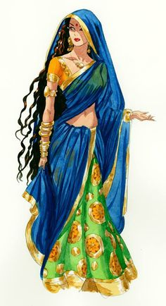 Beautiful drawing of Indian woman in traditional clothing, ghagra choli with long dupatta, long hair and ethic jewellery, from: Best Ideas For Fantasy Art Sketch Illustrations Drawings. Indian Illustration, Fashion Illustration Sketches, Illustration Mode, Fashion Sketches, Art Sketches, Drawing Fashion, Indian Women Painting, Indian Art Paintings, Art Indien