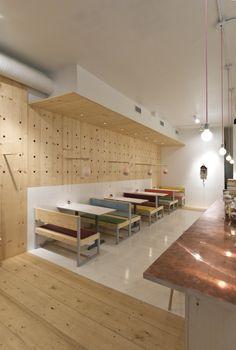 Bestie Currywurst Scott and Scott Architects Vancouver | Remodelista Las lamparas cuelgan de palos y pueden subrise/bajarse.