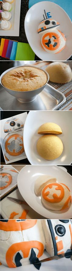 How to make an easy Star Wars BB-8 birthday cake for a Star Wars birthday party. Just print my free BB-8 pattern and follow the easy steps. Great for beginners. #birthday #birthdayparty #cake #kidsparty #starwars #bb8
