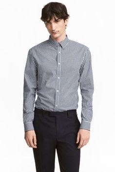 Shirt Slim fit - Dark blue/Checked - Men | H&M GB