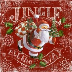 Chalk Santas-Jingle All the Way-red by Geoff Allen | Ruth Levison Design