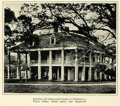This is an original 1923 halftone print of the historic plantation house at Chalmette, Three Oaks, Louisiana. CONDITION This year old Item is rated Near Mint. Light aging throughout. No creases. Southern Plantation Homes, Southern Mansions, Southern Homes, Plantation Houses, Southern Style, Abandoned Plantations, Louisiana Plantations, Old Abandoned Buildings, Abandoned Places