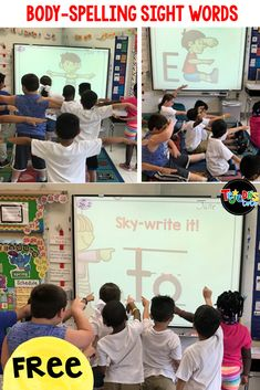 Many kids struggle to build sight word fluency. This blog post will show you how using bodies to spell words is a great way to incorporate movement into sight word instruction! This free body-spelling PowerPoint helps students learn sight words using visual, auditory, reading, writing, and kinesthetic methods! They'll read the words in context, say and spell, sky-write, body-spell, find them, and write them! #tejedastots #sightwords