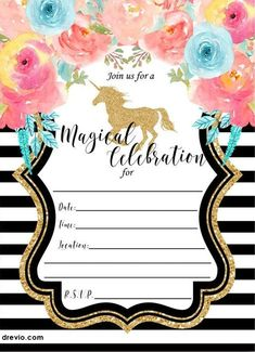 Nice FREE Printable Golden Unicorn Birthday Invitation Template