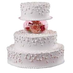 Budding Romance Cake - Flowing leaves and vines gently entwine this cake design. Add a decorative floral touch using the Fluted Bowl Separator Set filled with matching flowers.
