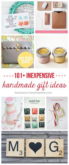 101+ inexpensive handmade Christmas gifts on iheartnaptime.com cheap gift ideas, frugal gifts, cheap gifts