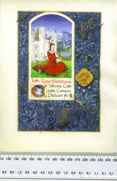 """The project's inspiration was the Prayerbook of Charles the Bold, late 1400s.  It is painted on vellum measuring 203mm x 152mm (8"""" x 6""""), using Winsor and Newton gouache and shell gold, and has what is probably the shortest text in existence for a Pelican scroll:  Iussu Rex Silvaedraco(ni)s Catherina Cestrensis Comitem Pelicani fit (""""By order of the King of Drachenwald, Cathryn of Chester is made a Companion of the Pelican"""")."""