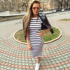 Summer dress women 2016Sheath dresses Striped Dress Short  Sleeve plus size women clothing  dresses Mid-Calf