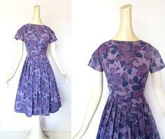 Vintage 50s Dress / DUSK GARDEN / 1950s Floral Dress / Purple 50s Dress / xxs xs on Etsy, $74.00