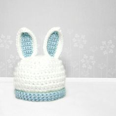 OH MY GOODNESS! This is adorable.please one of my friends with children get this! Crochet Bunny Hat Photo Prop Rabbit Beanie Pick by MySweetieBean Easter Crochet, Crochet Bunny, Crochet Baby Hats, Crochet Beanie, Cute Crochet, Crochet For Kids, Loom Knitting, Baby Knitting, Crochet Character Hats