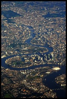 aerial view of the River Thames winding through London