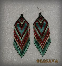 Long Indian style beads earrings tribal style boho by Olisava Style Tribal, Style Boho, Native American Earrings, Native American Beading, Seed Bead Earrings, Beaded Earrings, Green Earrings, Jewelry Patterns, Beading Patterns