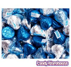 Blue and silver Hershey kisses for the candy buffet Kisses Candy, Hershey's Kisses, Diamonds And Denim Party, Hershey Kisses Chocolate, Chocolate Favors, Diamond Party, Diamond Theme, Pearl Party, Online Candy Store