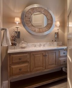 Natural Wood Bathroom Cabinet. Neutral Bathroom with Natural Wood Cabinet…
