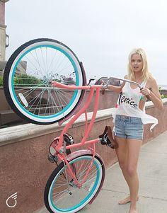 Raincoats For Women Posts Beach Cruiser Bikes, Cruiser Bicycle, Bicycle Girl, Beach Cruisers, Retro Bicycle, 26 Beach, Push Bikes, Female Cyclist, Rain Jacket Women