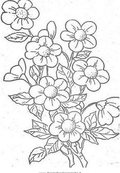 This Pin was discovered by Jua Floral Embroidery Patterns, Hand Embroidery Designs, Ribbon Embroidery, Embroidery Stitches, Flower Coloring Pages, Coloring Book Pages, Fabric Painting, Art Tutorials, Flower Art